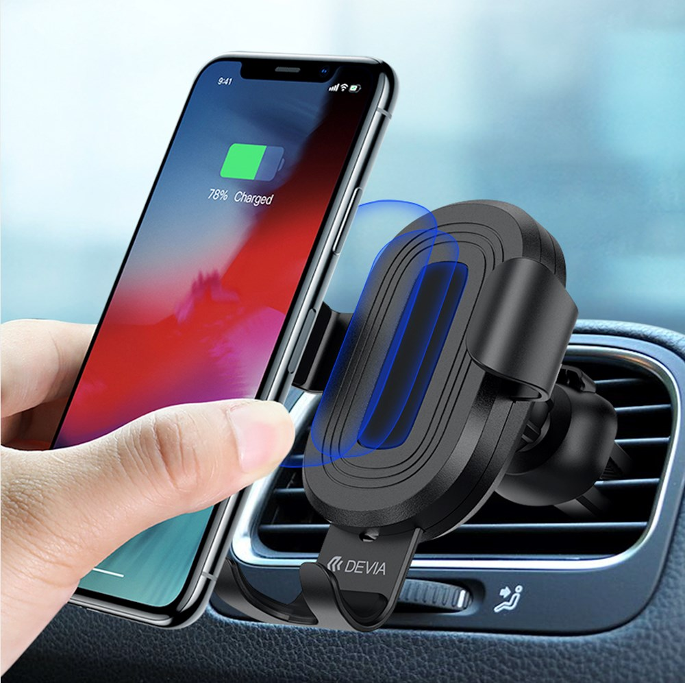 Devia-10W Wireless Charging Gravity Sensor Air Vent Car Holder-Black