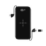 Devia , 8,000mAh Wireless Charging Powerbank & Lightning, MicroUSB & Type C Cable , Black
