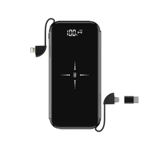 Devia , 8,000mAh Wireless Charging Powerbank & Lightning, MicroUSB & Type C Cable , Black