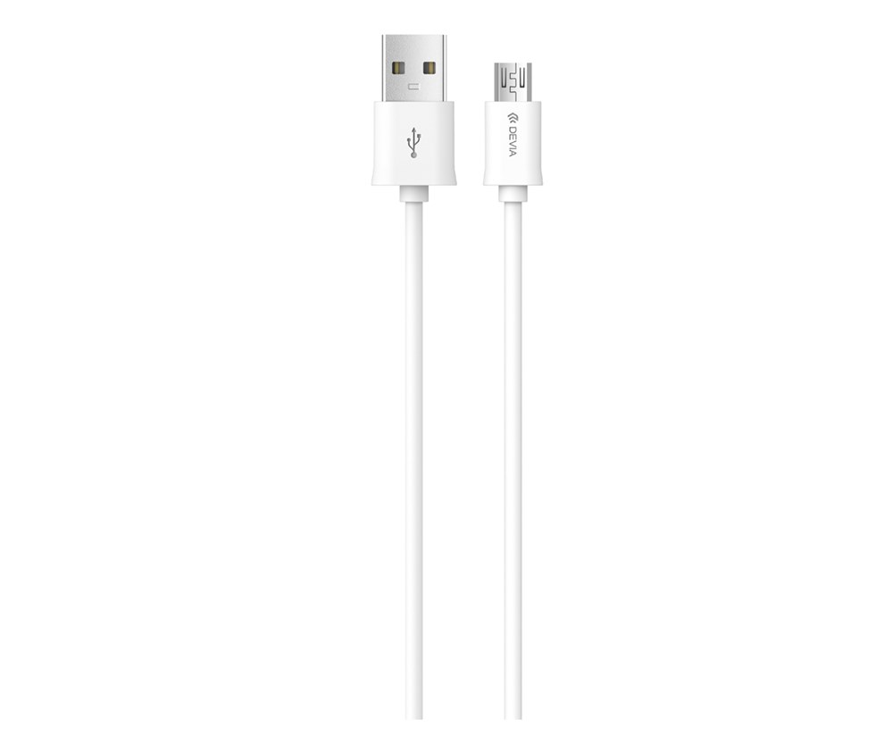 Devia - 1m (2.1A) USB to MicroUSB Cable - White