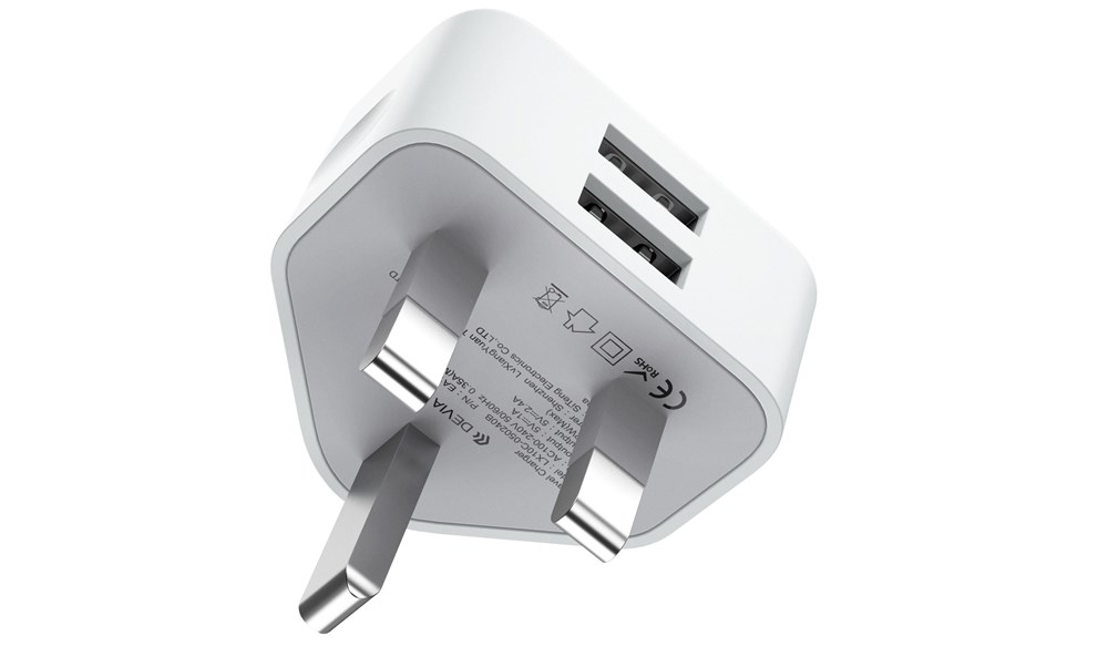 Devia , 2.4A Dual USB 3,Pin UK Charging Plug , White
