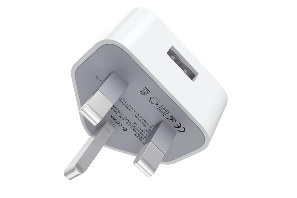 Devia , 2.1A USB 3,Pin UK Charging Plug , White