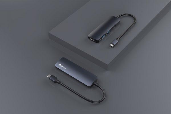 Devia - Type C 5in1 Hub - PD, Card Reader, & USB - Grey