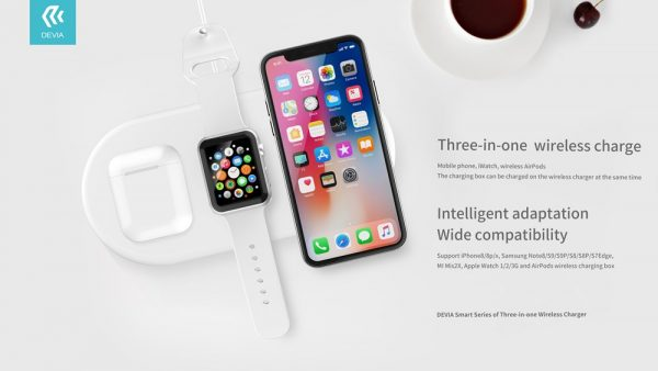 Devia 22W Triple Wireless Charging Pad iPhone Airpods iWatch White