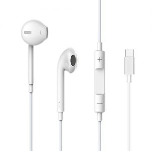 Devia , Type C Earphones with Microphone & Volume Control , White